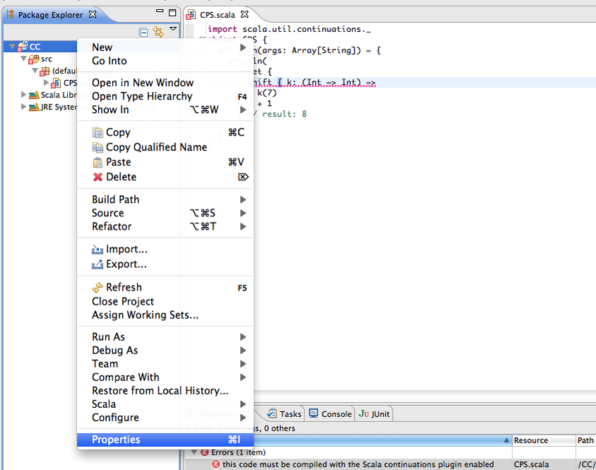 Enabling Scala continuations plugin in the Scala IDE — Scala IDE 0 1