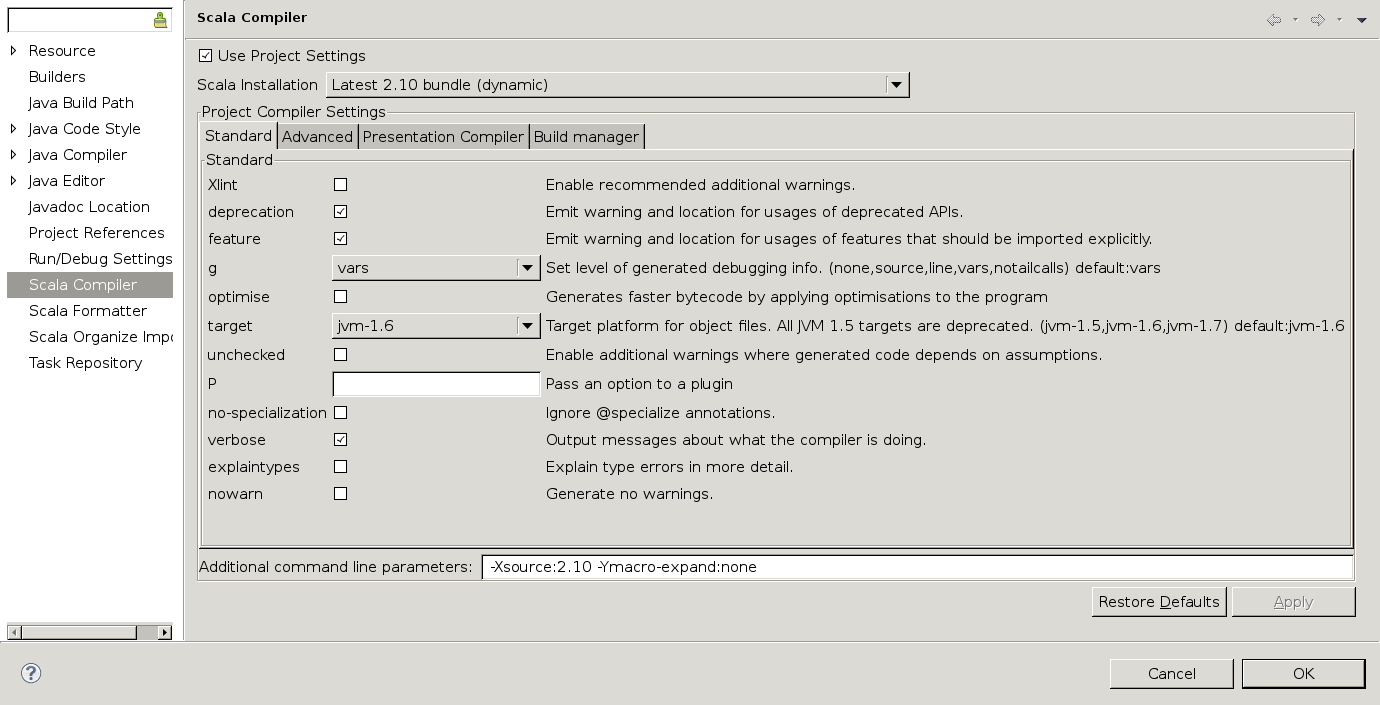 Compiler settings after choosing a legacy installation
