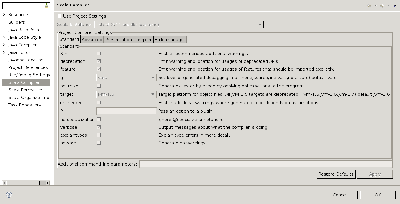 Unmodified compiler settings view